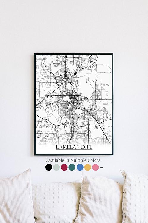 Print of Lakeland, FL and all its roads