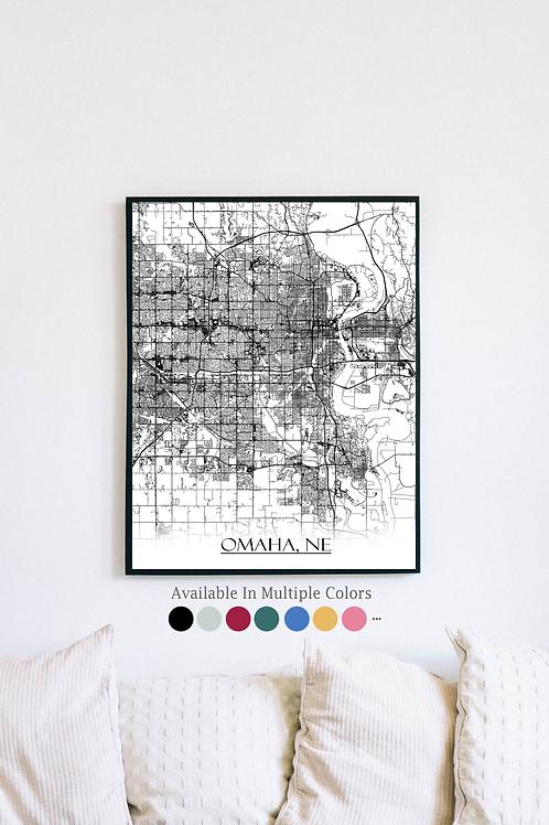 Print of Omaha, NE and all its roads