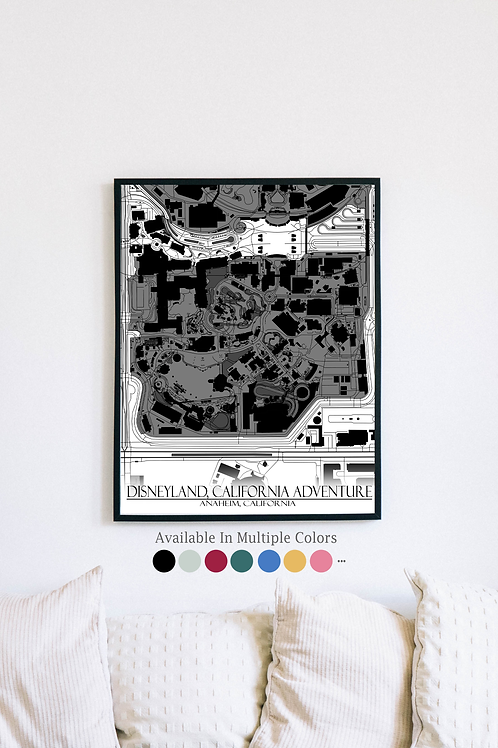 Print of Disneyland, California Adventure and all its roads
