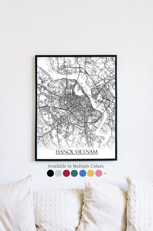 Print of Hanoi, Vietnam and all its roads