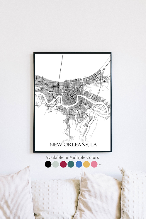 Print of New Orleans, LA and all its roads