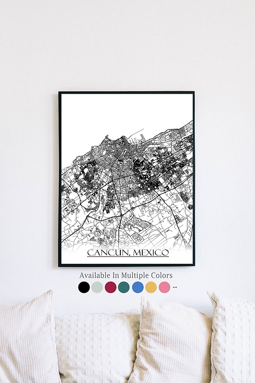 Print of Cancun, Mexico and all its roads
