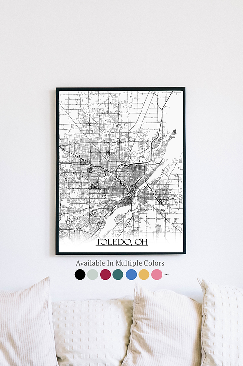 Print of Toledo, OH and all its roads