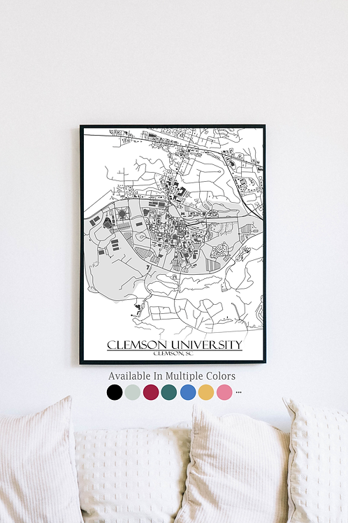 Print of Clemson and all its roads