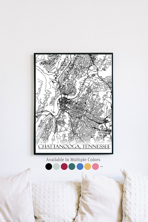 Print of Chattanooga, TN and all its roads