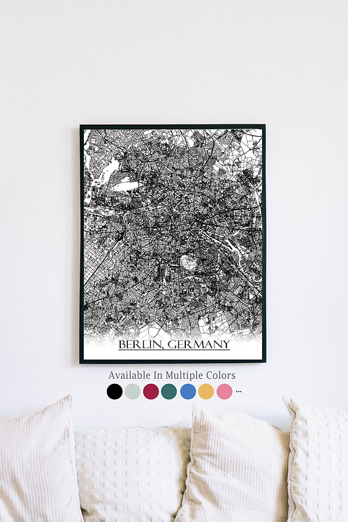 Print of Berlin, Germany and all its roads