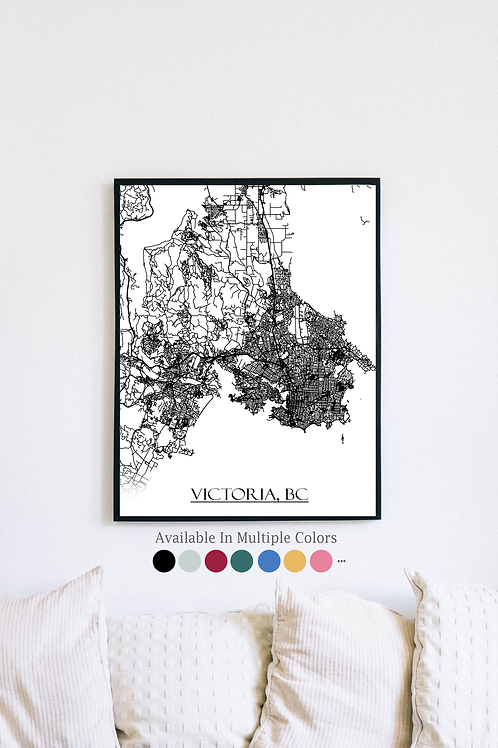 Print of Victoria, BC Canada and all its roads