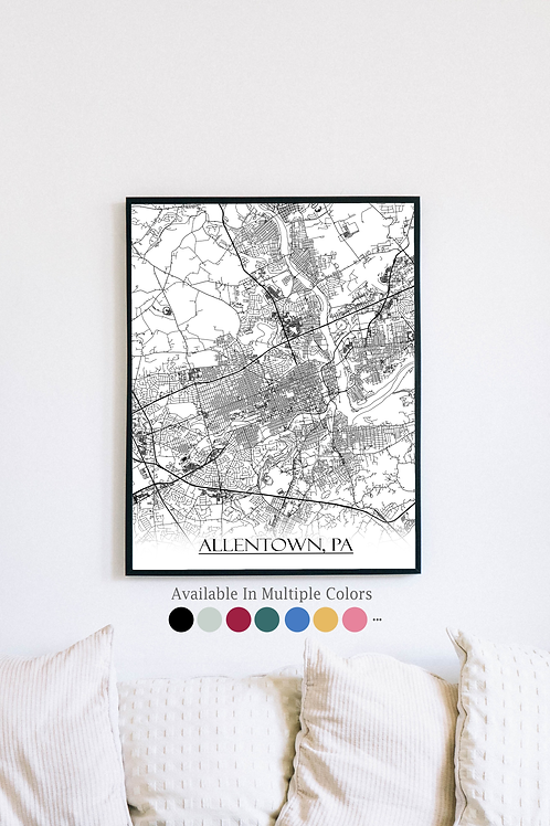 Print of Allentown, PA and all its roads