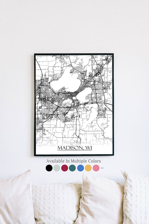 Print of Madison, WI and all its roads