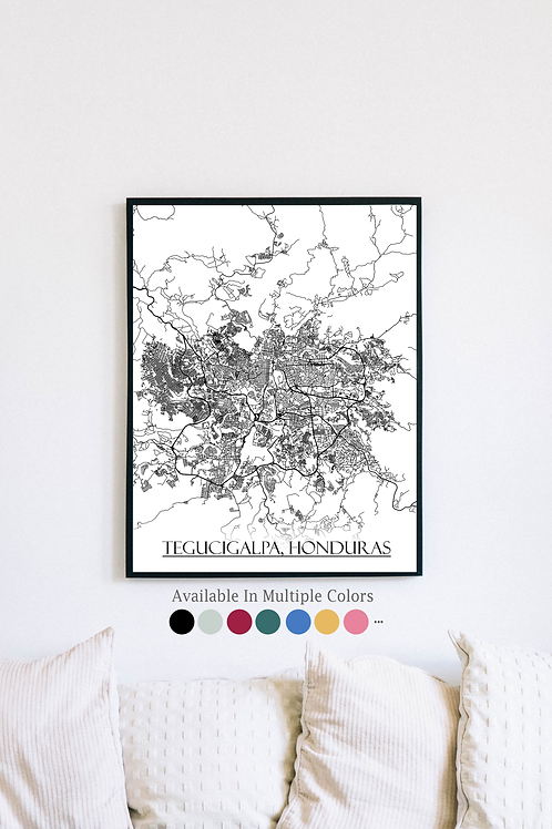 Print of Tegucigalpa, Honduras and all its roads
