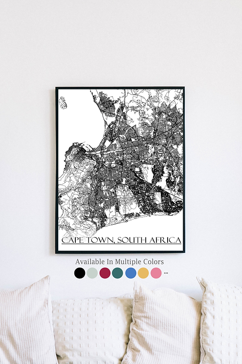 Print of Cape Town, South Africa and all its roads