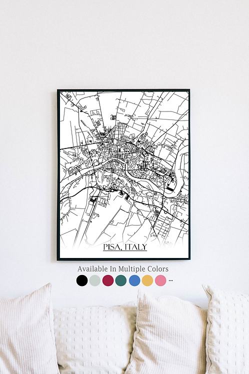 Print of Pisa, Italy and all its roads