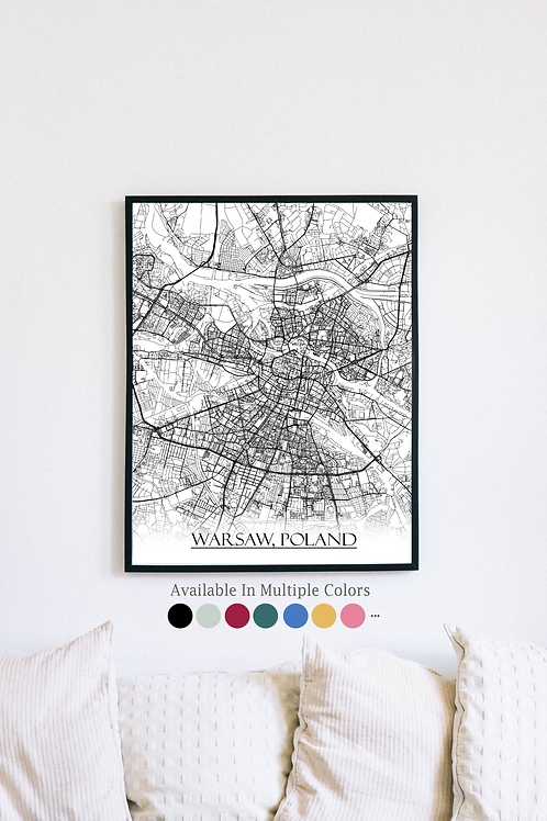 Print of Warsaw, Poland and all its roads