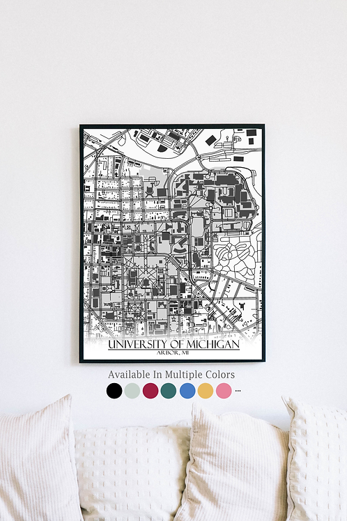 Print of University of Michigan and all its roads