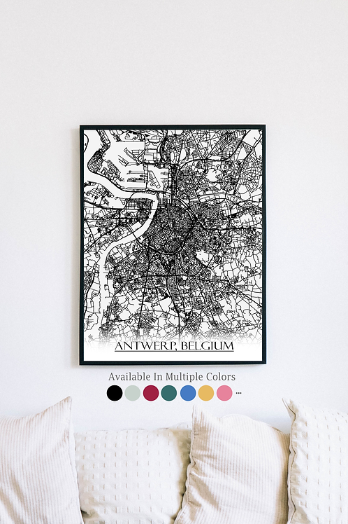 Print of Antwerp, Belgium and all its roads