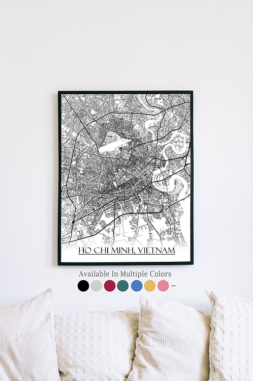 Print of Ho Chi Minh, Vietnam and all its roads