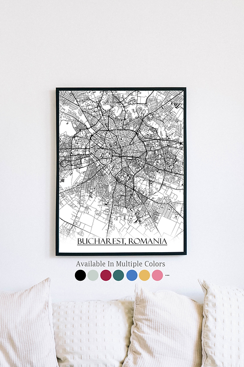 Print of Bucharest, Romania and all its roads