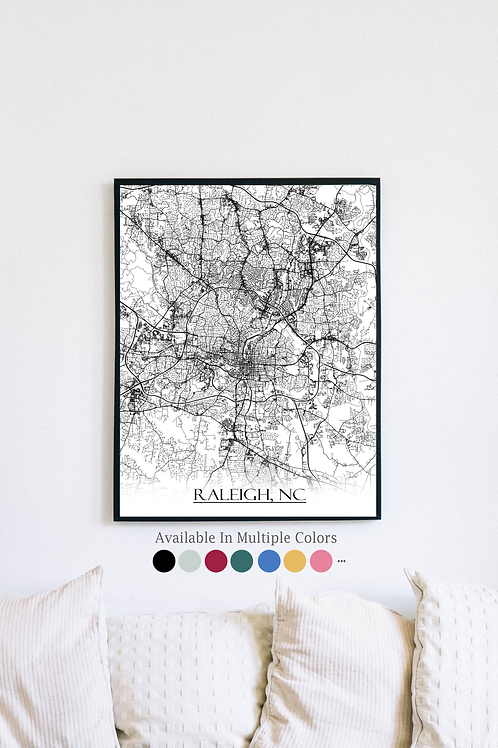Print of Raleigh, NC and all its roads