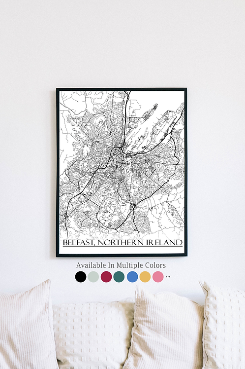 Print of Belfast, Northern Ireland and all its roads