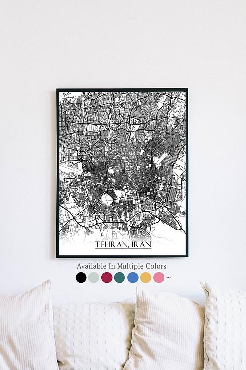 Print of Tehran, Iran and all its roads