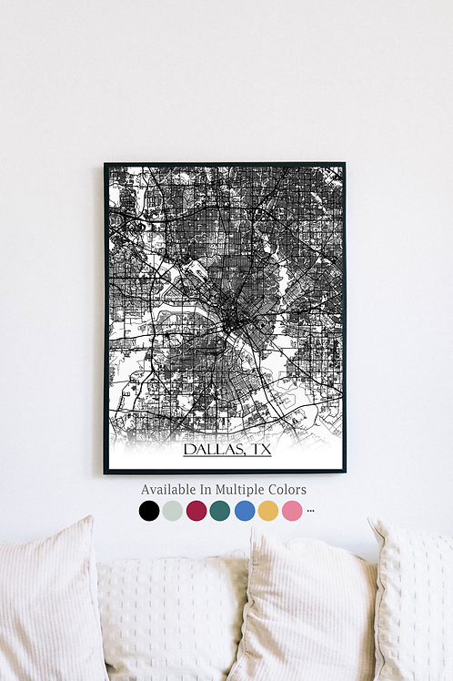 Print of Dallas, TX and all its roads