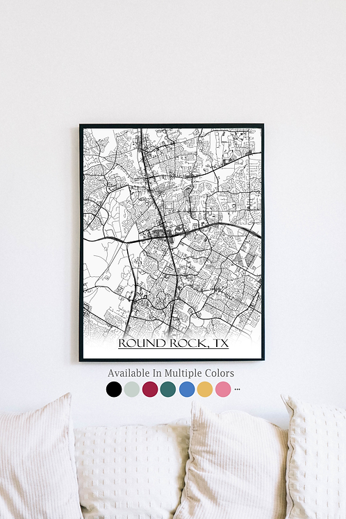 Print of Round Rock, TX and all its roads