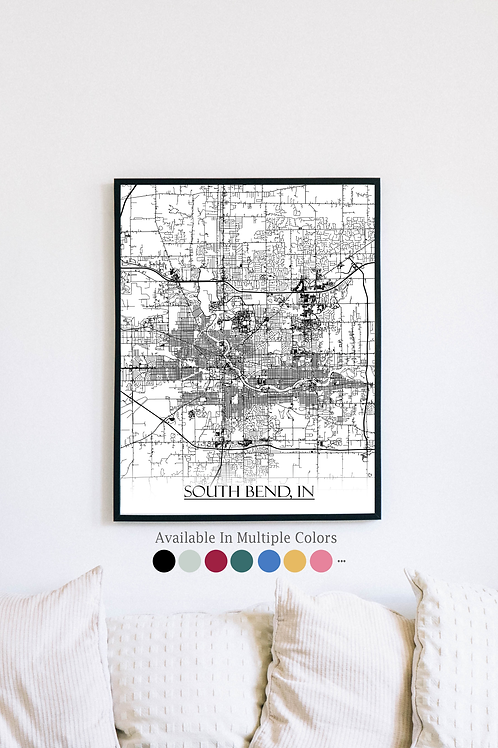 Print of South Bend, IN and all its roads