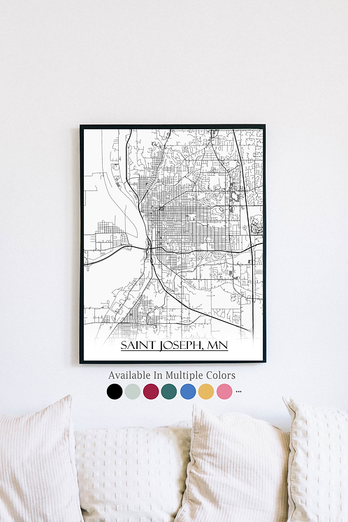 Print of Saint Joseph, MN and all its roads