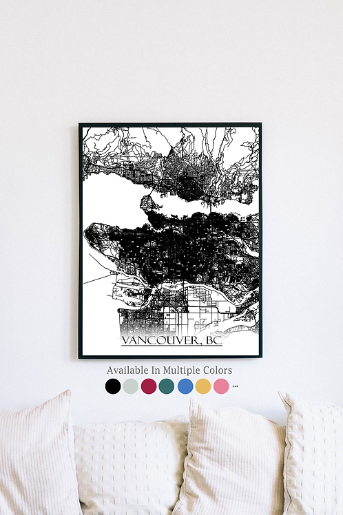 Print of Vancouver, BC Canada and all its roads