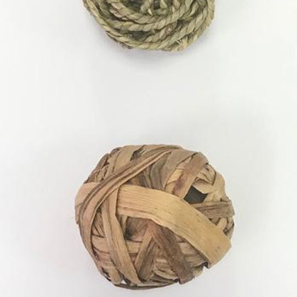 TWO Natural Aquatic Plant Grass Braided Balls