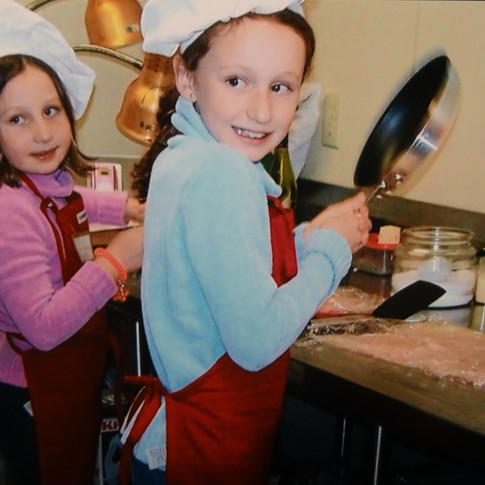 Kids cooking lessons - the Driehaus daughter's.