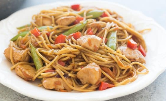 Chicken Chow Mein with Edamame Spaghetti