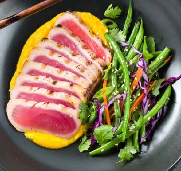 Seared Ahi Tuna over Cauliflower Carrot Ginger Puree