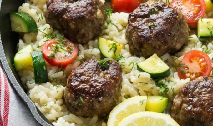 Greek Meatballs with Lemon Orzo Rice