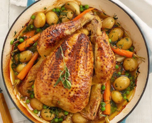Roasted Whole Chicken with Spring Veggies