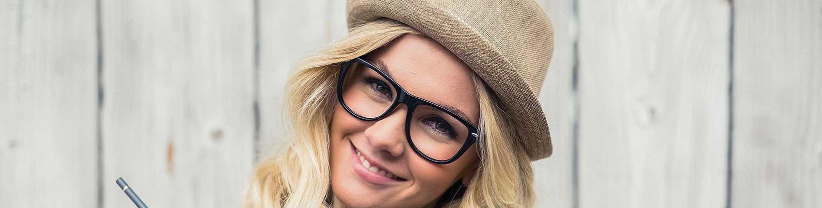 Hipster girl wearing eye glasses