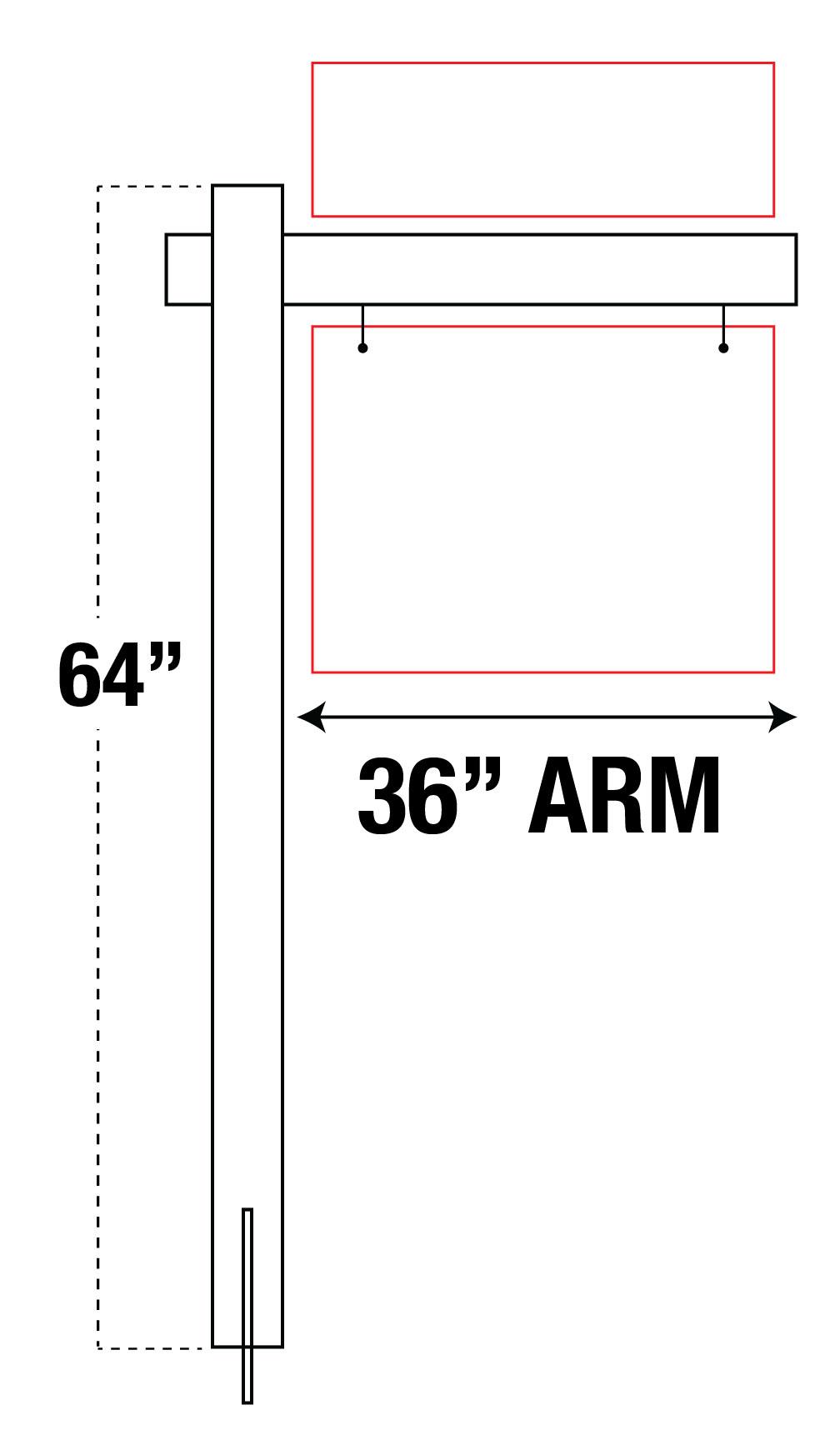 """36"""" ARM VINYL POST"""