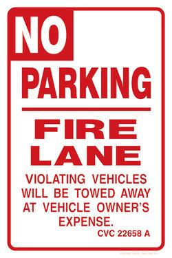 """12""""x18"""" NO PARKING FIRE LANE"""