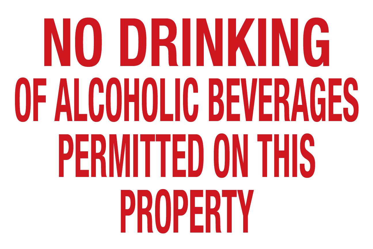 "12""X18"" NO DRINKING"
