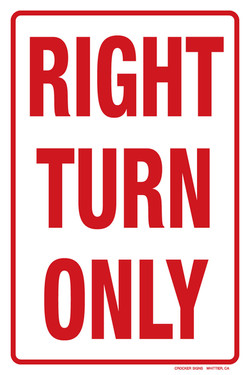 """12""""x18"""" RIGHT TURN ONLY"""