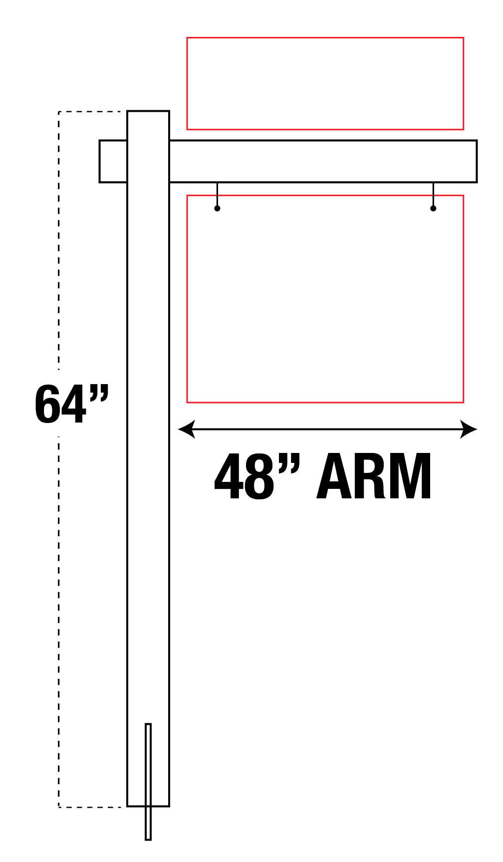 """48"""" ARM VINYL POST"""