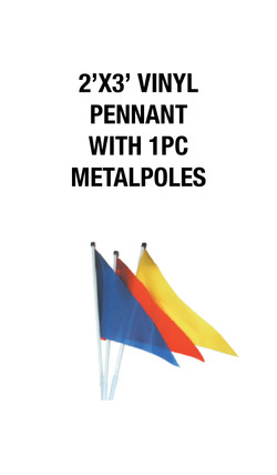 2'X3' PENNANT WITH 1 METAL POLES