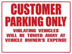 CUSTOMER PARKING ONLY