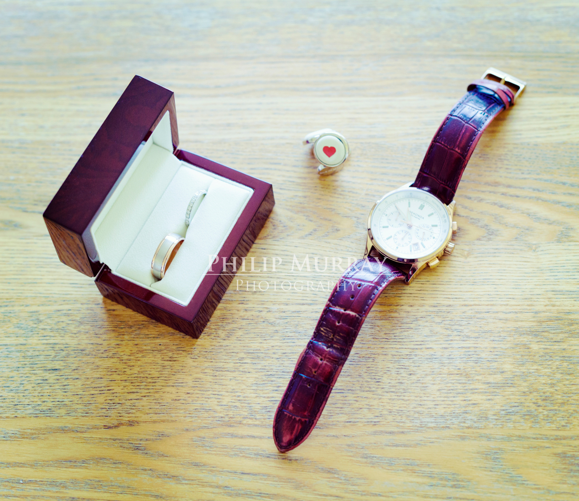 Wedding_E&J__Groom_Watch_Rings_Bride_Heart_Cufflinks_Philip_Murray_Photography_Dublin
