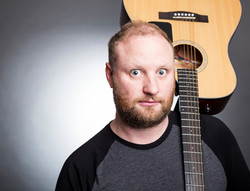 Fred Cooke Comedian Guitar Grey Background Portrait Philip Murray Photography Dublin IMG_7824 A