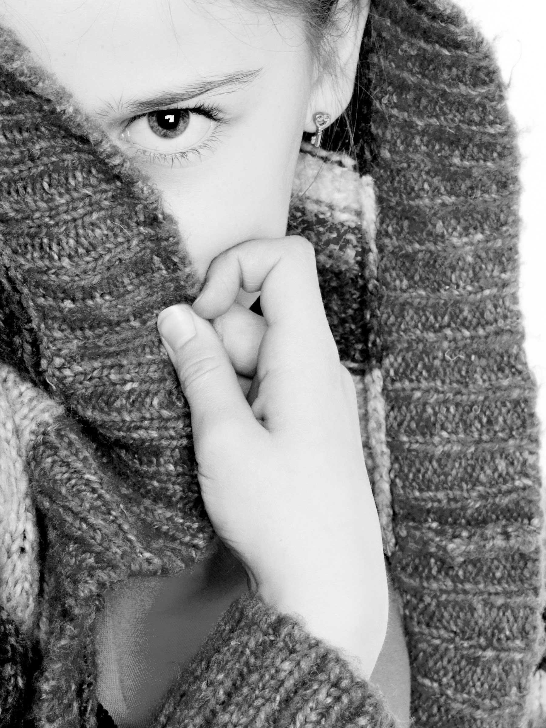Portrait Girl Headshot Portrait Hand