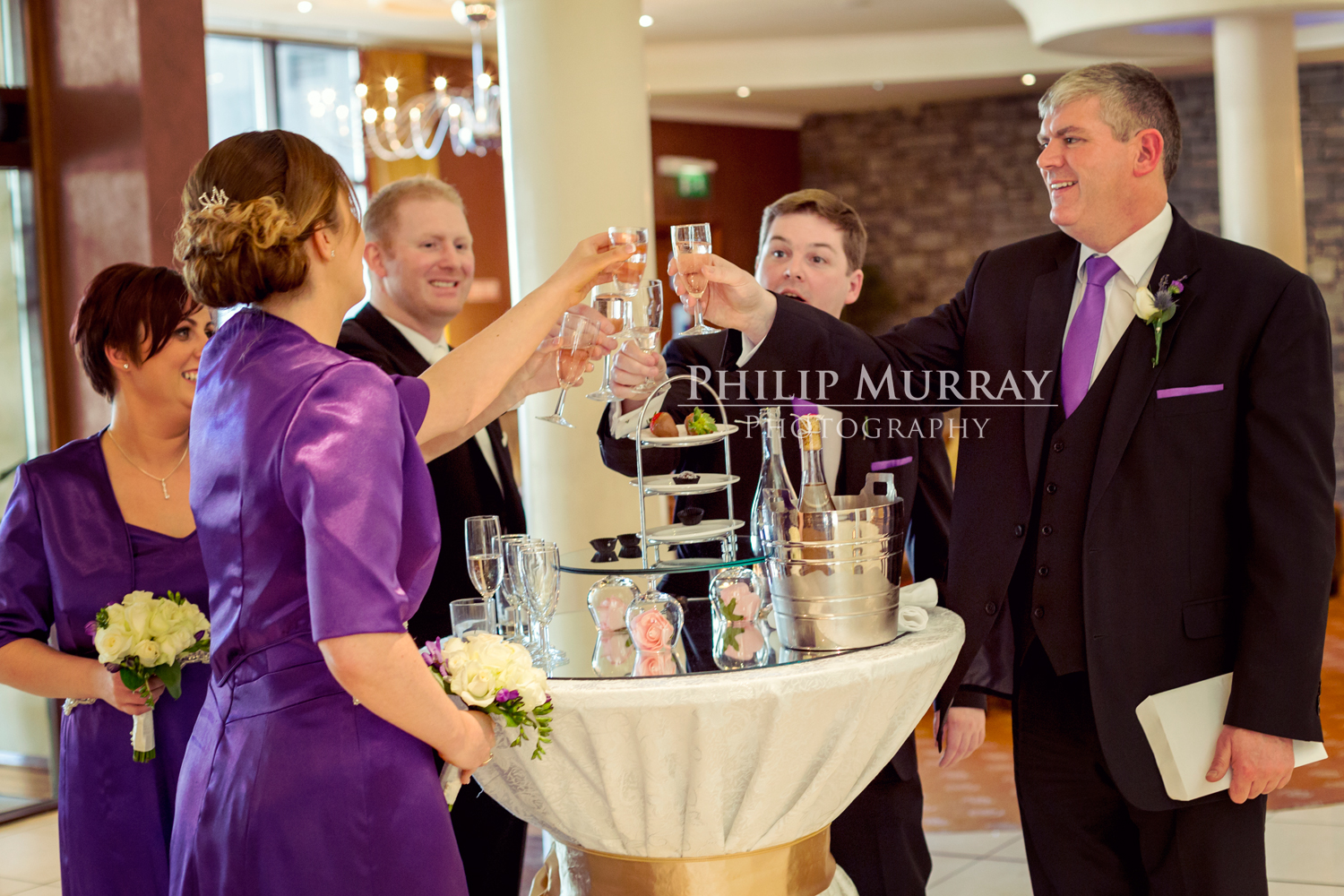 Wedding_E&J_Groom_Bride_Bridesmaid_Groomsman_Cheers_Champagne_Philip_Murray_Photography_Dublin