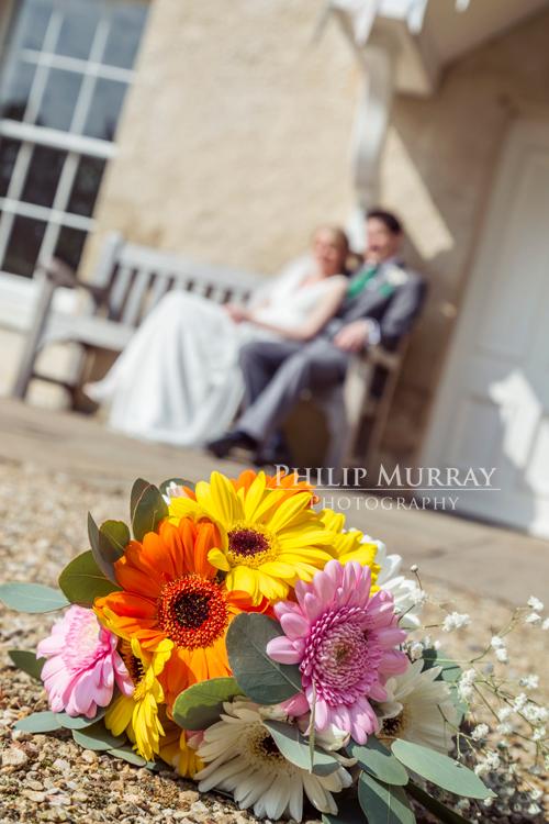 Wedding_S&D_Garden_Flowers_Bouqet_Bride_Groom_Sitting_Bench_Philip_Murray_Photography_Dublin