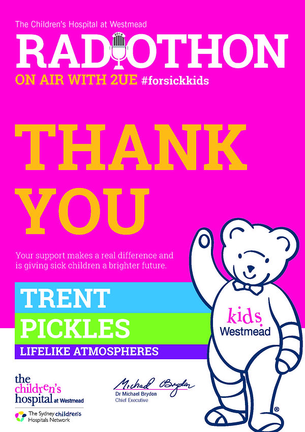 Radiothon 2016, #forsickkids, Thank You, The Children's Hospital Westmead, LifeLike Atmospheres