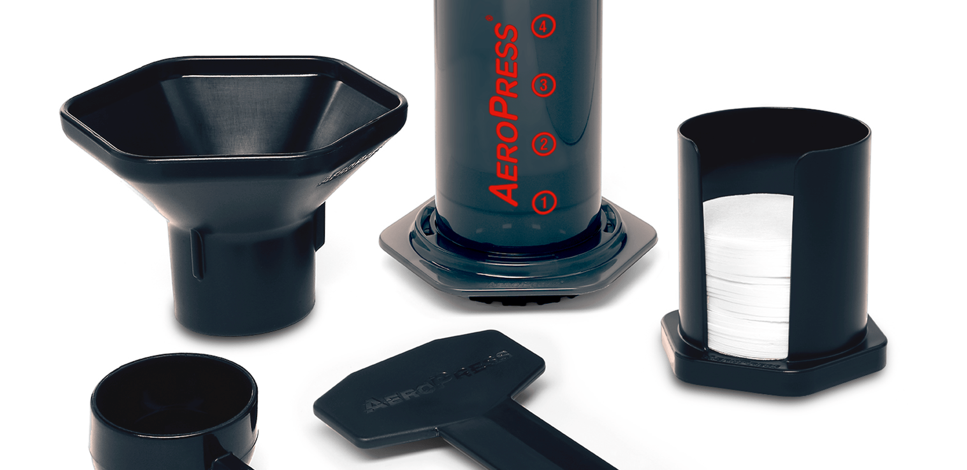 AeroPress components viewed from the sid